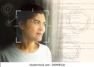 Biometric verification, Face recognition system concept. Female face with lines from a facial recognition software.