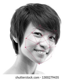 Biometric verification. Human facial detection, high technology. Asian woman face ID scanning.