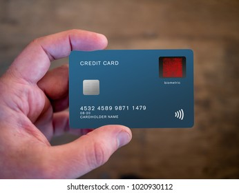 Biometric verification on credit card. User must have finger over the sensor when making a purchase. Fingerprint scanner.