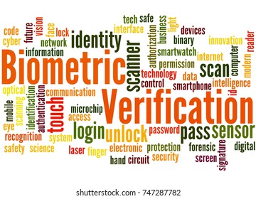 Biometric verification, word cloud concept on white background.