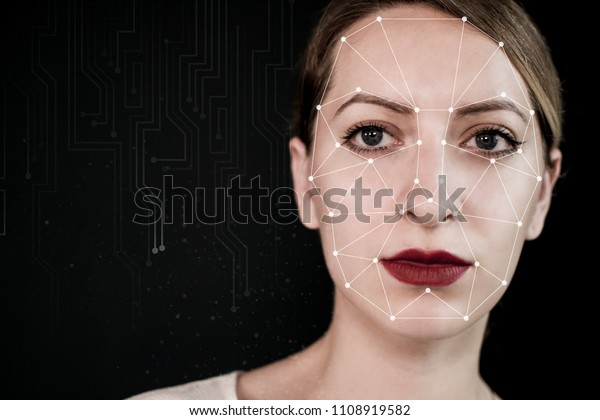 check-out dd590 ec5ae Biometric Verification Young Woman Face Tracking Stock Photo ...