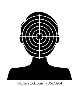 Biometrical identification. Facial recognition system concept. Simple icon. Raster version.