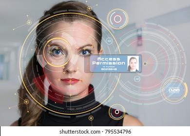 Biometrics concept. Facial Recognition System. Face Recognition. Iris recognition.