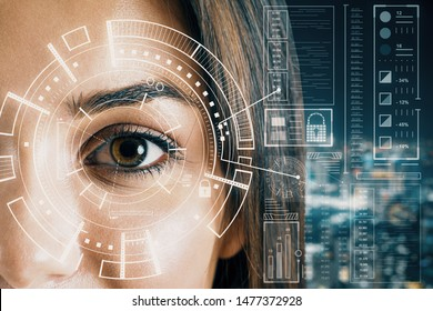 Biometrics and scanning concept with brown eye woman and cyberspace screen with digital data at blurry city view background. Double exposure.