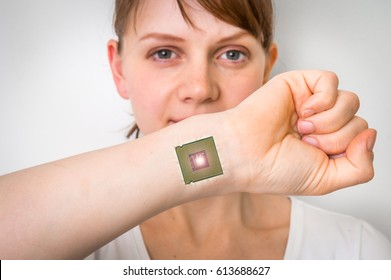 Bionic chip (processor) implant in female human body - future technology and cybernetics concept