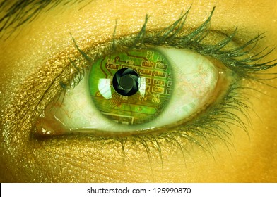 Bionic eye with circuits and diaphragm