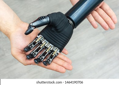 Bionic hand. Modern technology prosthetic limbs. Manufacturing of artificial limbs from high-strength carbon.