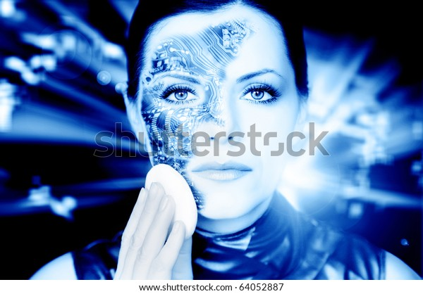 Bionic woman removing makeup from her face toned in blue