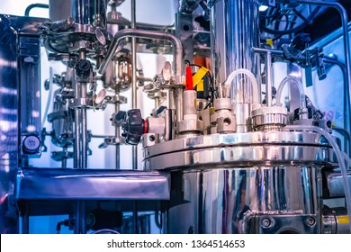 Bioreactor for microbiology. Reactor fermenter. Fermenter industrial. Microbial fermentation. The creation of drugs. Biotech industry. Pharmacology.