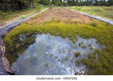 Bioremediation pit for soil contaminated with crude oil. On an oil well platform in the Amazon