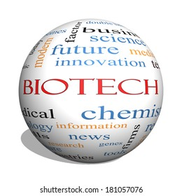 Biotech 3D sphere Word Cloud Concept with great terms such as medical, technolgy, dna and more.