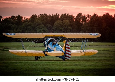 Biplane preparing for takeoff at the 2016 Flying Circus Airshow in Bealeton, Virginia