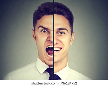 Bipolar disorder. Business man with double face expression isolated on gray background