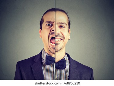 Bipolar disorder concept. Young business man with double face expression isolated on gray background