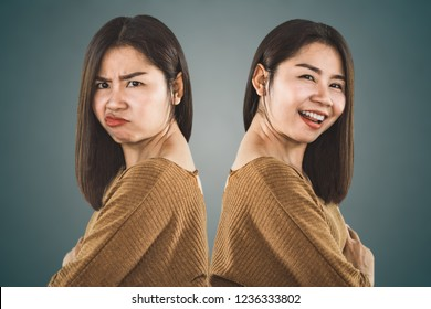 bipolar disorder personality. Asian woman face happy and depressed moods