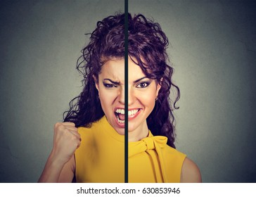 Bipolar disorder and split personality concept. Young woman with double face expression isolated on gray background