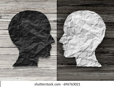 Bipolar mental health and brain disorder concept as a human head in paper divided in two colors as a neurological mood and emotion symbol or medical psychological metaphor in a 3D illustration style.