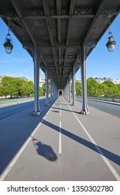 Bir Hakeim bridge in Paris, perspective view in a clear summer day in France