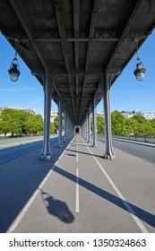 Bir Hakeim bridge in Paris, perspective view in a sunny summer day in France