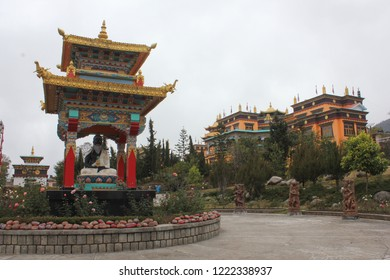 Bir, Himachal Pradesh/India- December 11, 2012: A view of the Nyingyang Monastery at Bir on a cloudy day