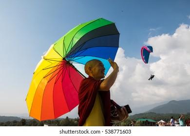 Bir, India - Oct 9, 2016: Tibetan monks in Bir