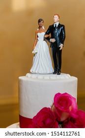 biracial couple Wedding cake topper.