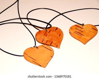 Birch bark heart pendant