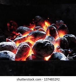 Birch coals burn