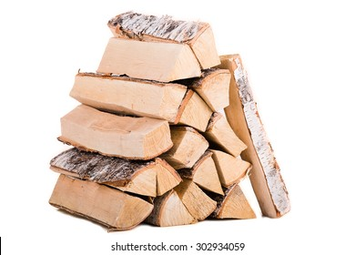 Birch Fire wood isolated on white