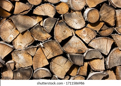 Birch firewood. Front image of firewood saw cuts. Firewood is dried and ready to kindle a fireplace. Cracked wood, texture is clearly visible. Horizontal photo, daylight
