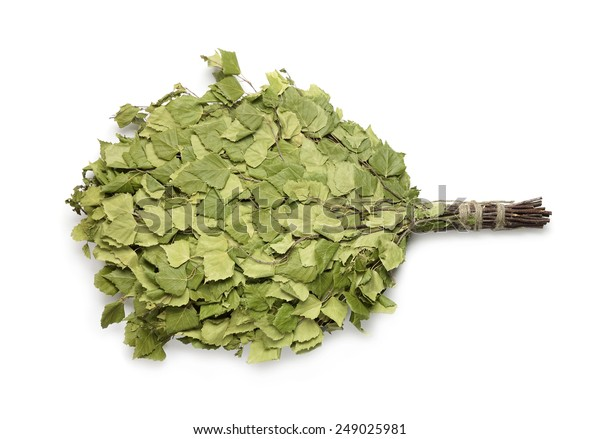 Birch sauna broom isolated on white
