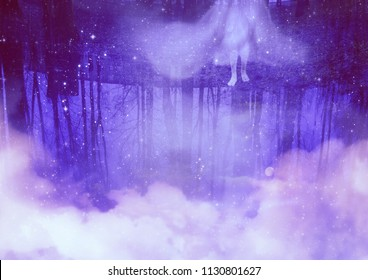 Birch trees and ghost reflected in the water and glowing stars, surreal fantasy background.