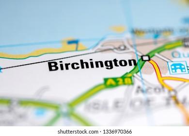 Birchington. United Kingdom on a geography map
