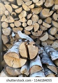 Birchwood background logs stacked