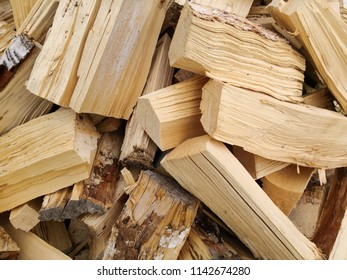 Birchwood chopped in pile for the fireplace