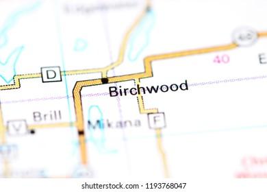Birchwood. Wisconsin. USA on a map