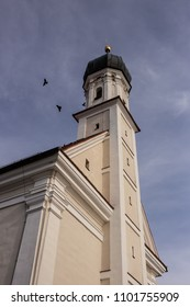 Bird circling the tower of St. Leonhard church in Utting am Ammersee in Upper Bavaria, Germany