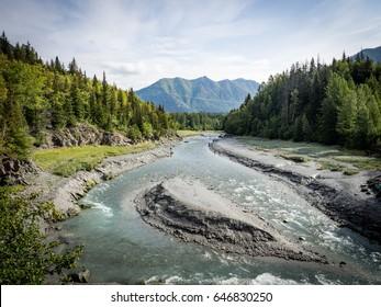 Bird Creek, a popular salmon fishing spot in Summer, Alaska, along Seward Highway.