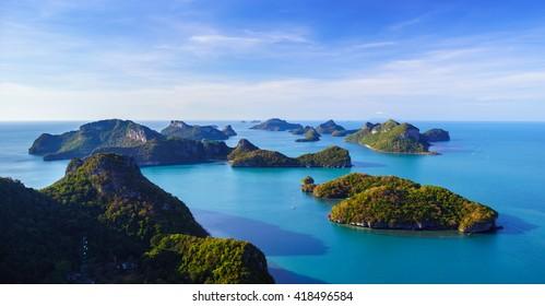 Bird eye view of Angthong national marine park, koh Samui, Suratthani, Thailand