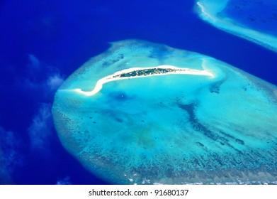 Bird eye view of atoll from Maldives .