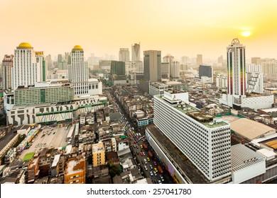 Bird eye view of Bangkok City at sunset
