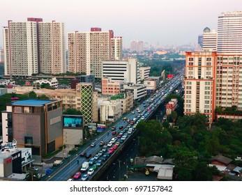 Bird eye view in Bangkok. Taken at Rama 9 Road, Bangkok, February 2017