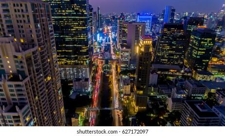 Bird eye view of Center of BANGKOK at night .
