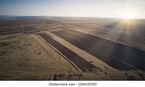 Bird Eye View of the Fields and Agricultural Parcel.