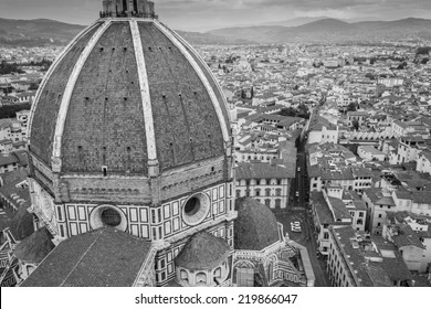 Bird eye view of florence in Italy from the cathedral in black and white