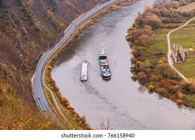 bird eye view of inland shipping from the mountain at the river Mosel by Moselschleife in Bremm a small village alongside the Mosel river, Germany