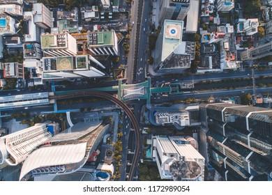 Bird Eye View intersection in the city beautiful At moning , Chong Nonsi , Bangkok , Thailand .
