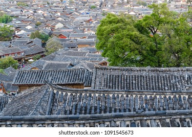 Bird eye view of local historical architecture roof building of Old Town of Lijiang in Yunnan, China.