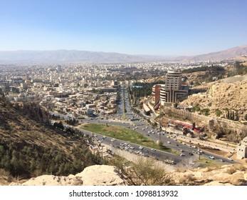 """Shiraz"" in the bird eye view panoramic scene, Shiraz, Iran"