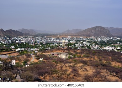 Bird eye view of Pushkar City - Rajasthan - India, Holy Hindu City. It is a sacred pilgrimage destination for Hindus